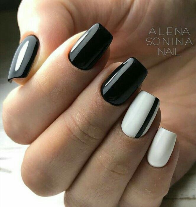 Black White Minimal Nailart Square Nail Designs White Gel Nails Black Gel Nails