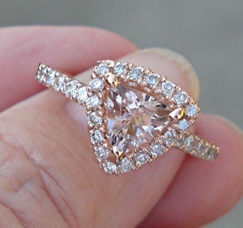 $599 Trillion Cut Morganite Rose Gold Diamond Halo Ring - 1 Carat Morganite Rose Gold Ring