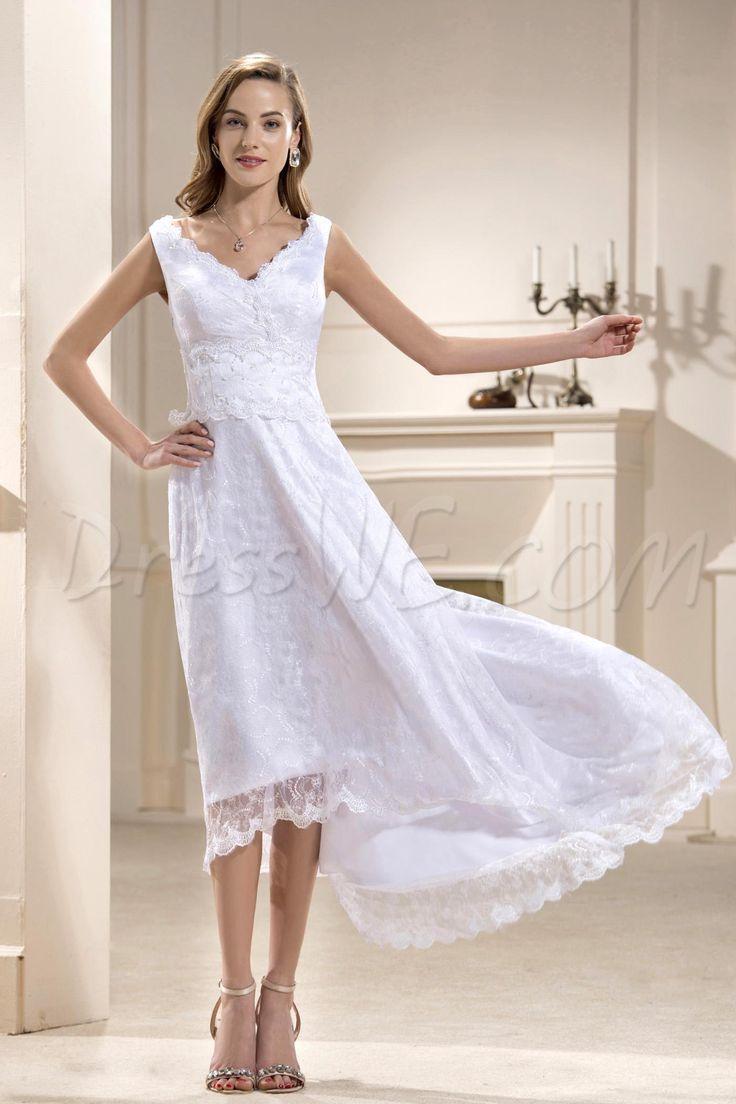 ブリリアントAラインウェディングドレス Vネック ノースリーブ アシンメトリー レングス レース プラスサイズ  10706042 - ビーチウェディングドレス - Dresswe.Com