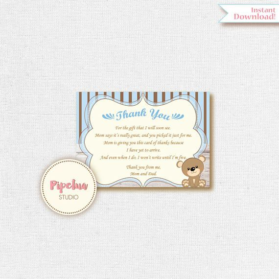 bear thank you card baby shower thank you card printable