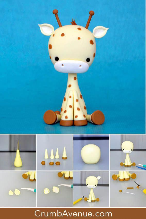 Cute Giraffe Cake Topper Free Tutorial Figure Figurine How To Make Step By Step Sugar Craft Cake Animal Baby Shower Cake Fondant Giraffe Giraffe Cakes