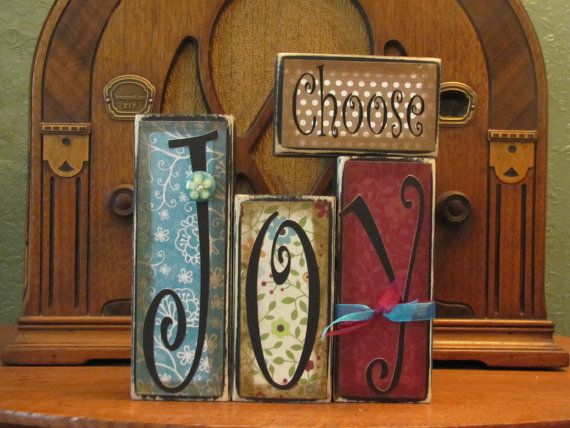 Choose Joy Inspirational Sign Word Blocks by PunkinSeedProduction, $24.00