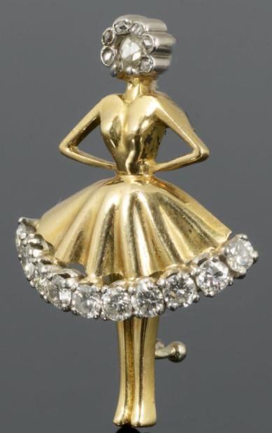 "VAN CLEEF & ARPELS ""danseuse"" brooch, brilliant cut diamonds, rose cut diamonds, platinum, yellow gpld, 1940-1950, 25 mm, 34 g"