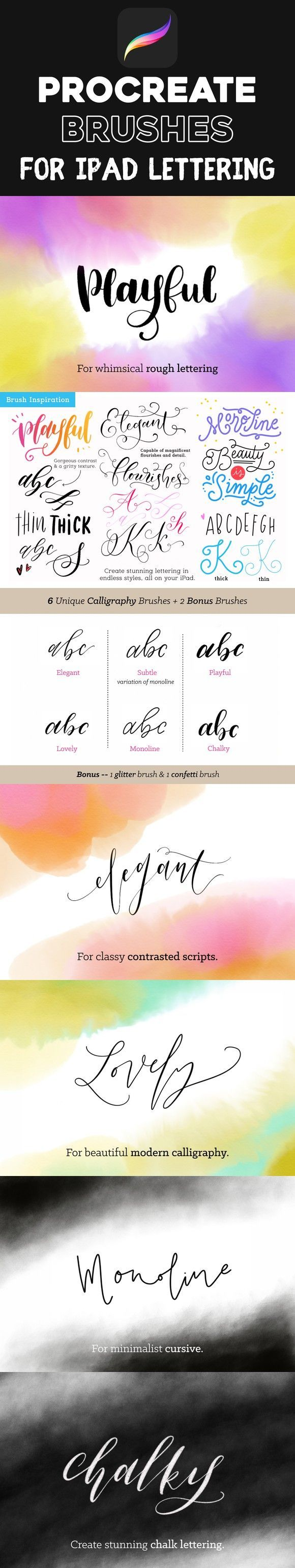 Procreate Brushes for iPad Lettering. Photoshop Brushes. $6.00 | hand lettering