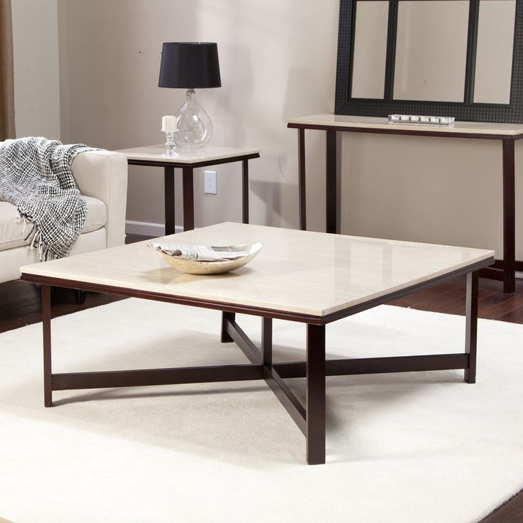 Avorio Faux Travertine Square Coffee Table | from hayneedle.com - 25+ Best Ideas About Large Square Coffee Table On Pinterest