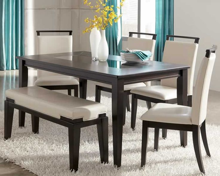 ashley furniture kitchen tables trishelle contemporary dining set with bench and glass inlaid. Black Bedroom Furniture Sets. Home Design Ideas