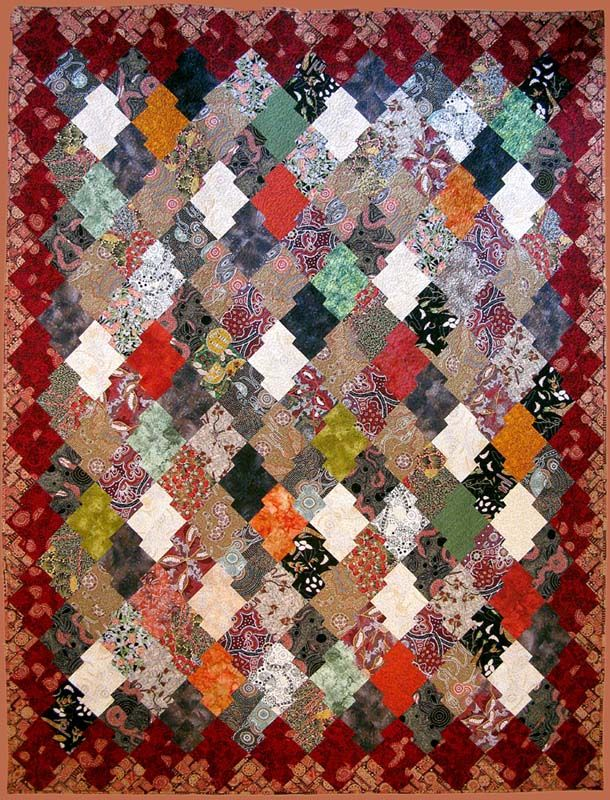 "Japanese Jig Saw quilt, 76x101""."