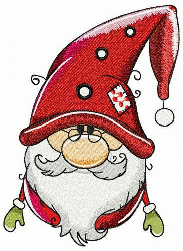 Amiable gnome embroidery design