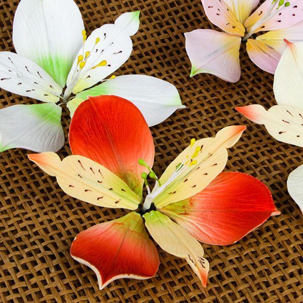 Alstroemeria Lily Sprays are gumpaste sugarflower cake decorations perfect as cake toppers for cake decorating fondant cakes and wedding cakes. | CaljavaOnline.com