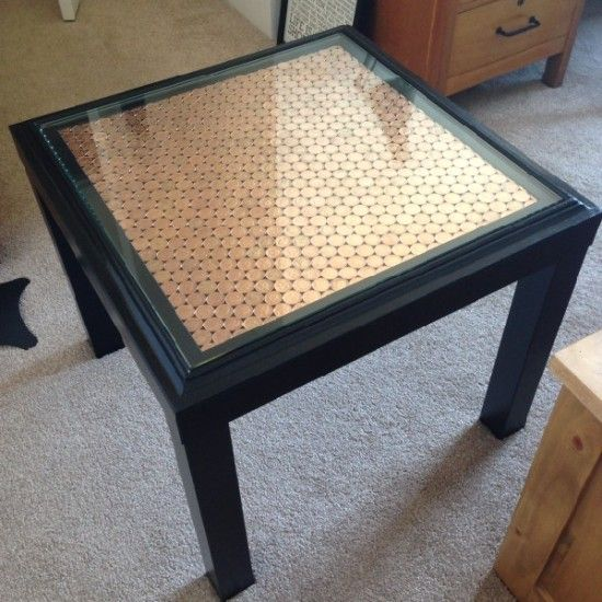 IKEA hack - penny LACK table... could be cool to do with all those foreign coins I've collected