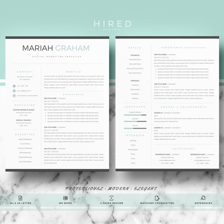 106 best Modern Resume Templates images on Pinterest For m - resume writing templates
