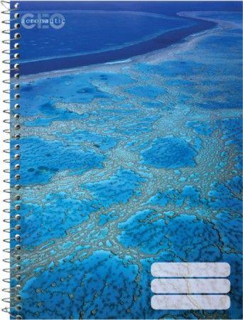 Spirál füzet A/A, vonalas-kockás,Geo Nature