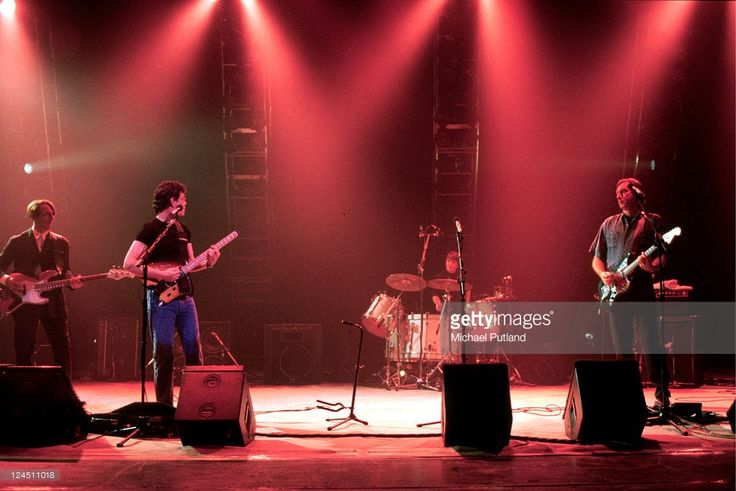 Velvet Underground perform on stage on the first date of their reunion tour, Playhouse Theatre, Edinburgh, Scotland, 1st June 1993, L-R John Cale, Lou Reed, Maureen Tucker, Sterling Morrison.