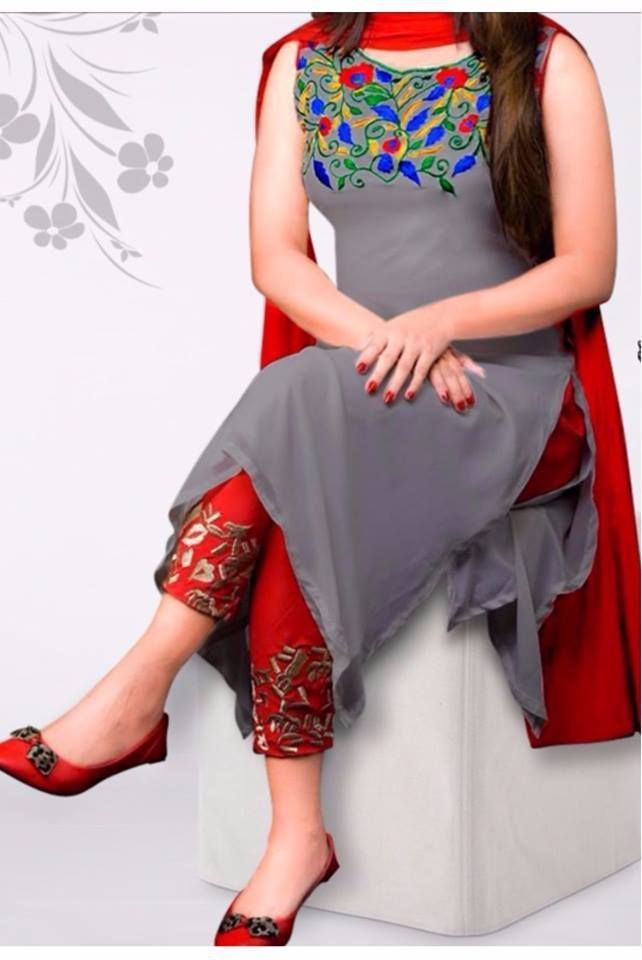 #kurti # georgette # salwar-kameez Gray Georgette Salwar Kameez 1103 1300 taka call #PunjabiLadiesSuits