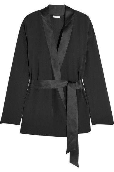 Eres - Betty Satin-trimmed Silk-chiffon Wrap Pajama Top - Black -
