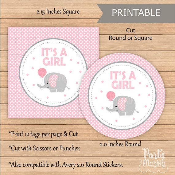 Pink Elephant Party Set Printable Girl Baby Shower Package