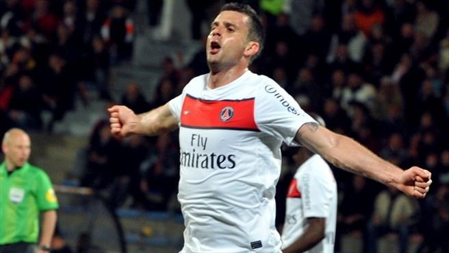 #PSG midfielder Thiago #Motta celebrates scoring against Lorient