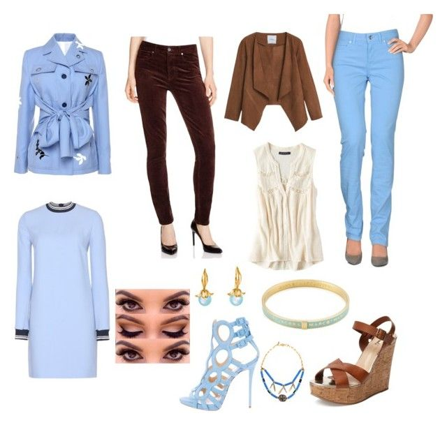 sky blue by siahaanastrid on Polyvore featuring Victoria, Victoria Beckham, American Eagle Outfitters, Jonathan Saunders, MANGO, Paige Denim, Schutz, Giuseppe Zanotti, Marc by Marc Jacobs, Militza Ortiz and Vanessa Mooney