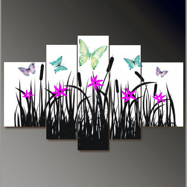 5262 handpainted 5 pieces modern oil painting on canvas wall art pictures for home decor as unique gift orchid and butterfly $52.00 - 132.00