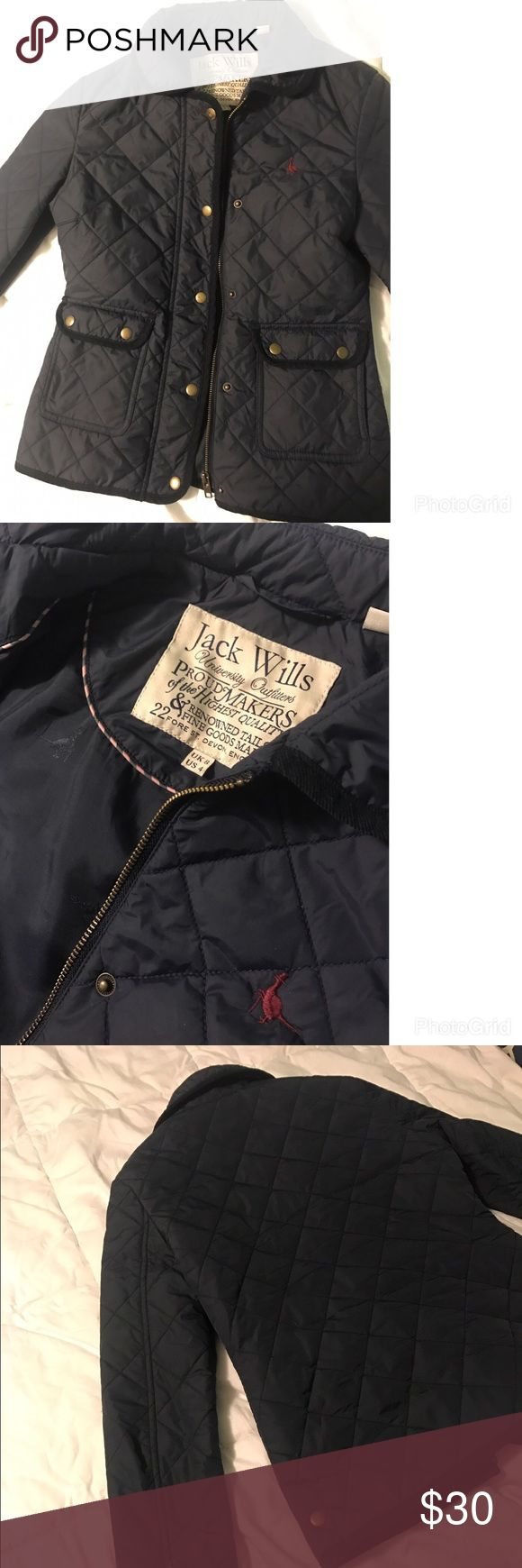 Jack Wills navy quilted jacket size 4 Jack Wills navy blue quilted jacket. Size 4 but fits like a size 2. Lightweight, perfect for fall or spring! Jack Wills Jackets & Coats