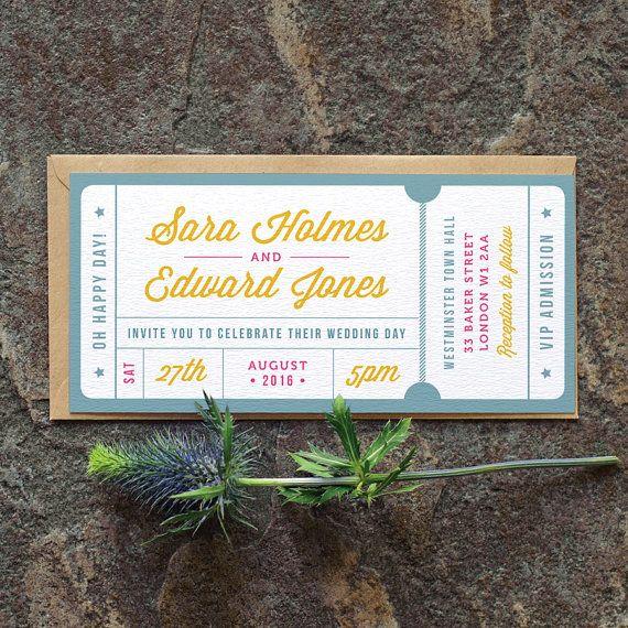 Concert or General Admission Ticket Wedding by twoforjoypaper