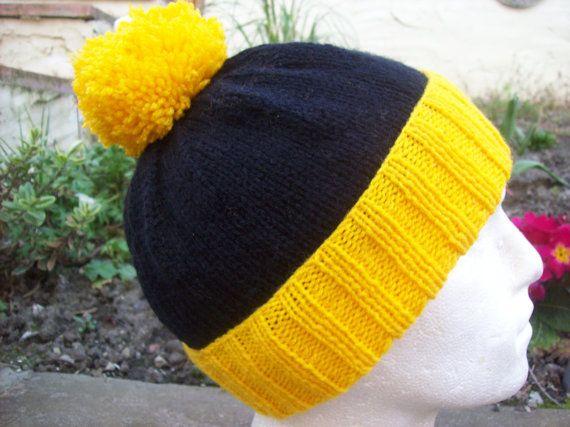 Yellow Black Pom Pom Hat Hand Knit Hat  by Clickclackknits on Etsy
