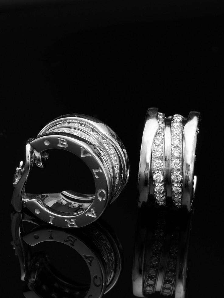 bvlgari 18k white gold bzero1 large diamond earrings 18k white gold with 2