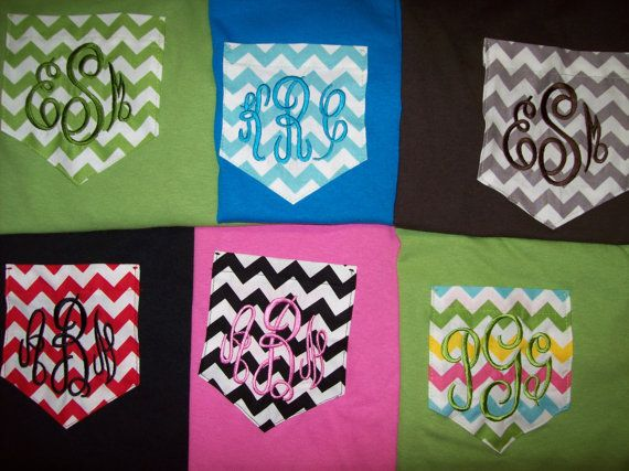 Custom Boutique Monogramed Pocket TShirt Chevron by YourDesign, $21.00