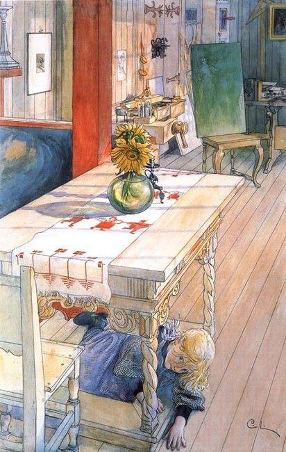 Carl Larsson >> Hide and Seek  |  (Watercolor, artwork, reproduction, copy, painting).