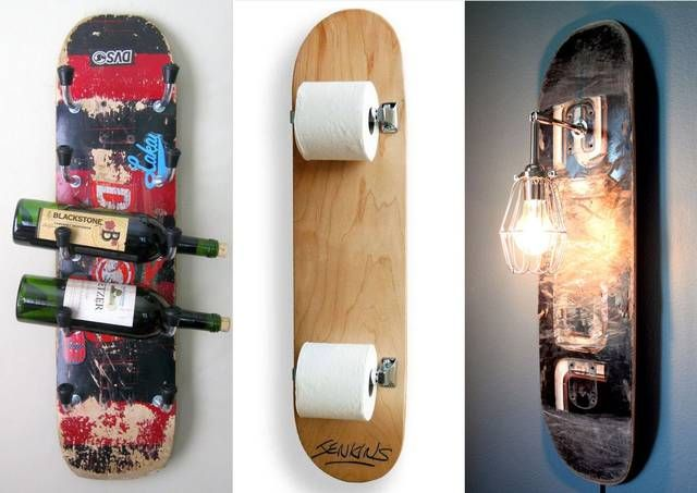 Cool interior collection made with unnecessary skateboard