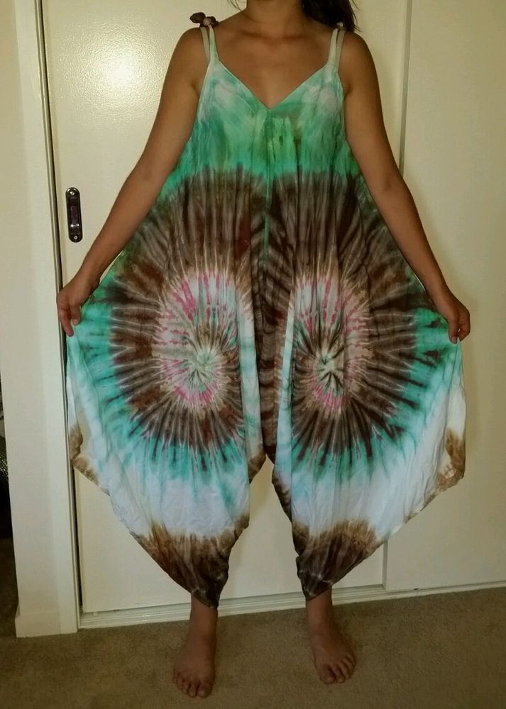 One size  18 20 22 Tie Dye Hippy Butterfly Rayon pant Jumpsuit leisurewear