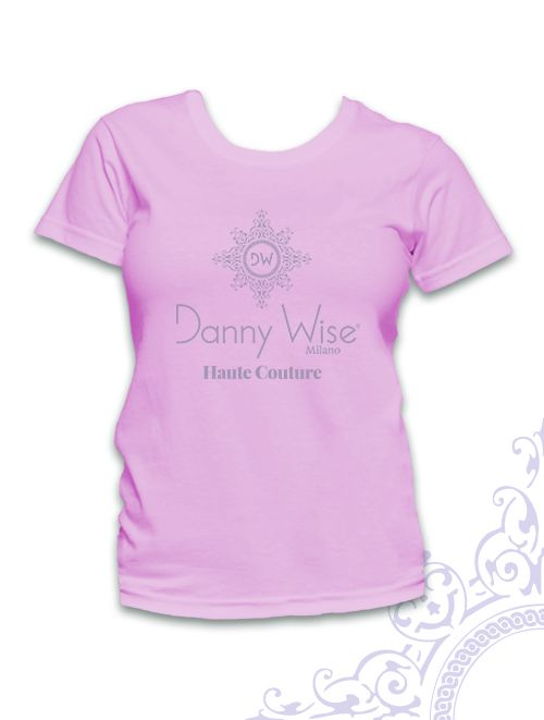 DANNY WISE T. Shirt : Model Woman  Classic   100% Cotton  Pink Pastel Logo Grey paris  stamped by Hand in Italy.  size S-M only in official Boutiques- Stores- Megastores  Danny Wise Boutique caltanissetta -Megastore Caltanissetta , Boutique Riposto