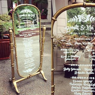 Chalk mirrors from Vintage Ambiance | Kimber Kleys Signs #weddingprogram #weddingsign