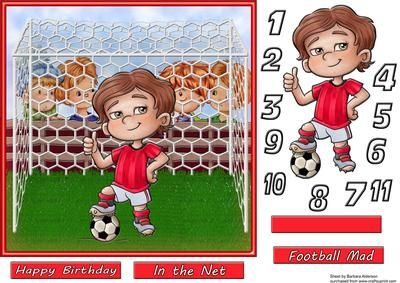 How Old Little Footballer on Craftsuprint designed by Barbara Alderson - step by step decoupage on a car front with numbers 1-11 for the front of the little footballers shirt and a choice of sentiments - Now available for download!
