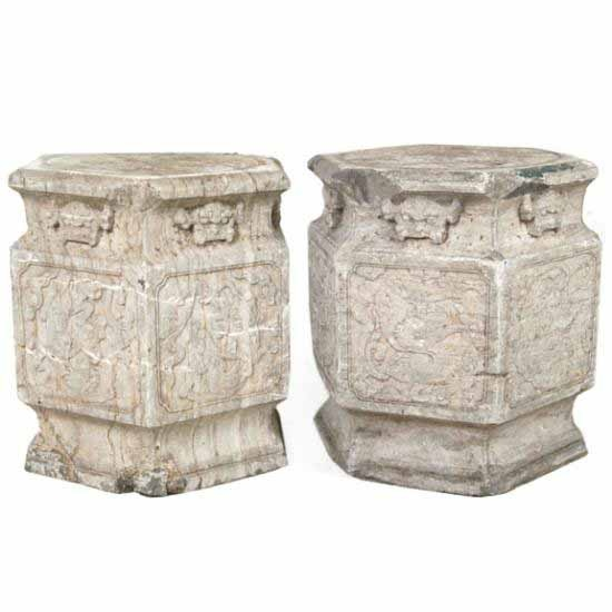 Beautiful Stone Asian Garden Stools.