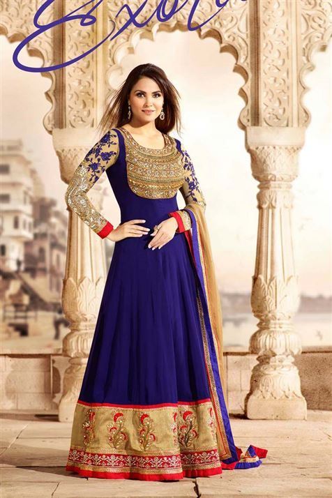 Buy Latest Party Wear Designer Extra Long Anarkali Dress Materials, Embroidered Anarkali Suits Online from online sarees store, mishreesaree.com at best prices.