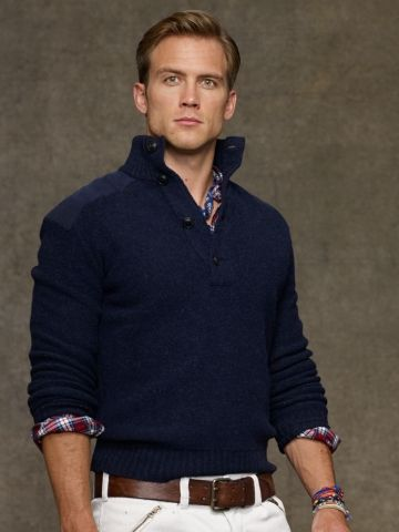 Great jumper from Ralph Lauren with details on shoulders for a broadening  look with lighter coloured chinos. Perfect for longer torso, shorter leg  guys and ...