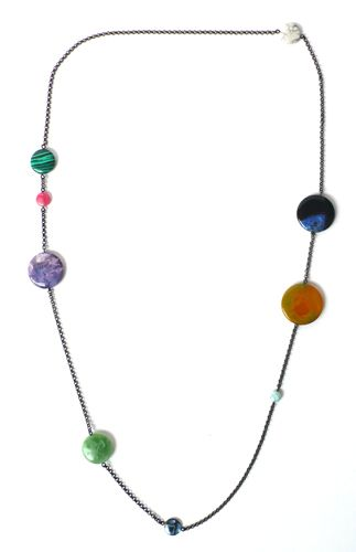 """Jewelry for sale or inspiration: """"Nine Planets"""" Necklace, from Mended Veil; semi-precious stone disks on a fine chain."""