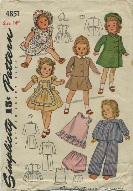 """Vintage Doll Clothes Sewing Pattern   Doll's Wardrobe   Simplicity 4851   Year 1944   Size 14"""""""