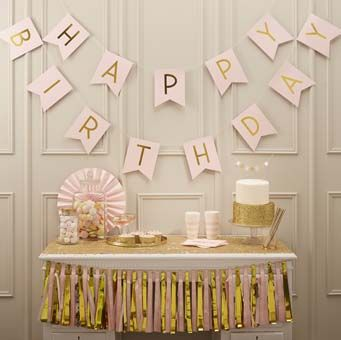 """Beautiful """"Happy Birthday"""" pastel pink and gold foiled bunting."""