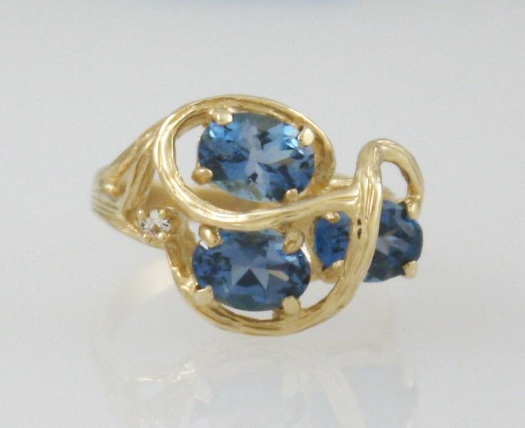 Estate 14K Yellow Gold Artist Design Three Oval Blue Topaz & Diamond Ring #Cocktail