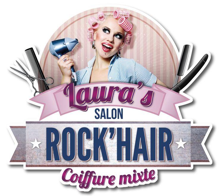 Le Logo du Salon de coiffure Rock'Hair, avec sa Pin'up.