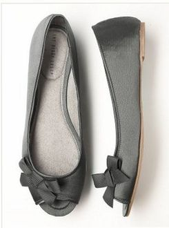 Grey Peeptoe Ballet Flats w/ Bow, these are so cute!