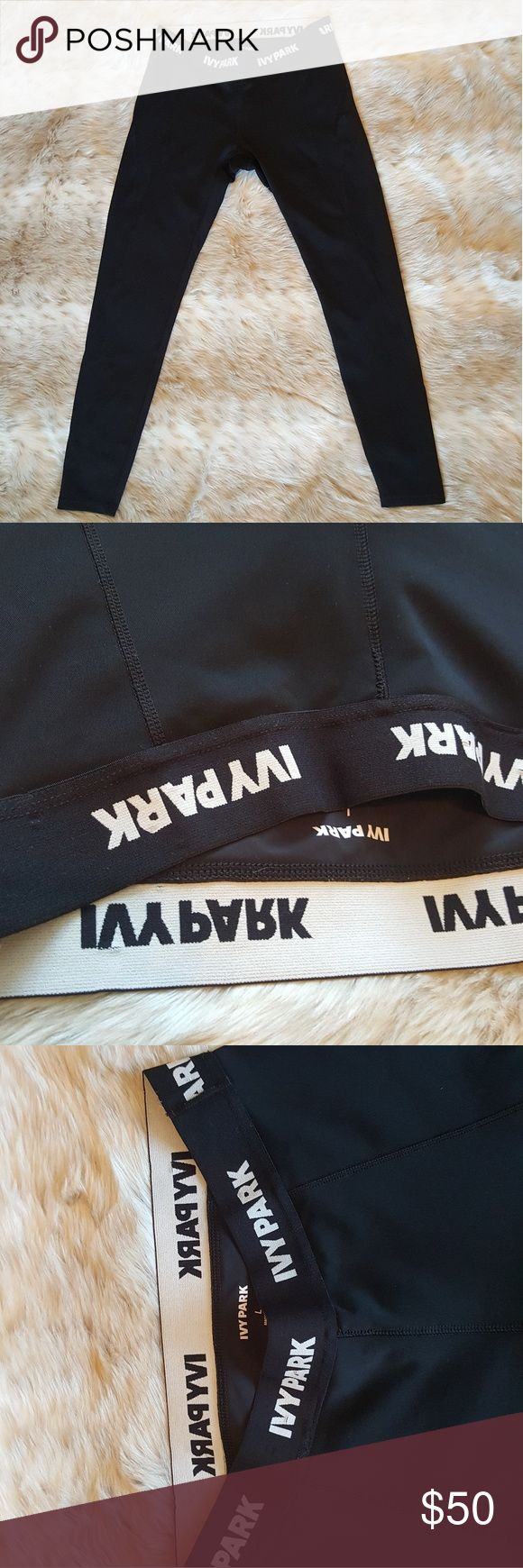 Ivy Park Logo Athletic Leggings This listing is for a pair of Ivy Park ankle-length leggings. They do have an elastic waistband with the logo written around the waist.  These have not been worn but do not have original tags.  Measurements: (taken while garment is laying flat) Length - 35 inches Waist - 13 inches  Happy Shopping! Ivy Park Pants Leggings