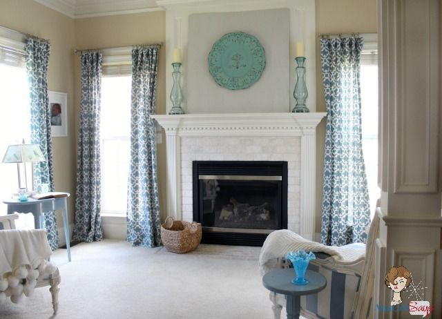 Atta Girl Says Cozy Master Bedroom Sitting Room Painted clock over fireplace