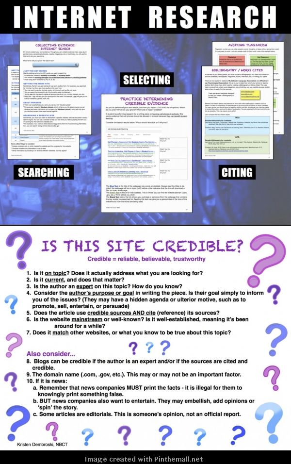 Internet Research: Searching, Selecting, and Citing Credible Sources. A Mini-unit for Grades 7-10, perfect to accompany your Expository Writing or Research Project. Technology Education, Information, 21st Century Skills.