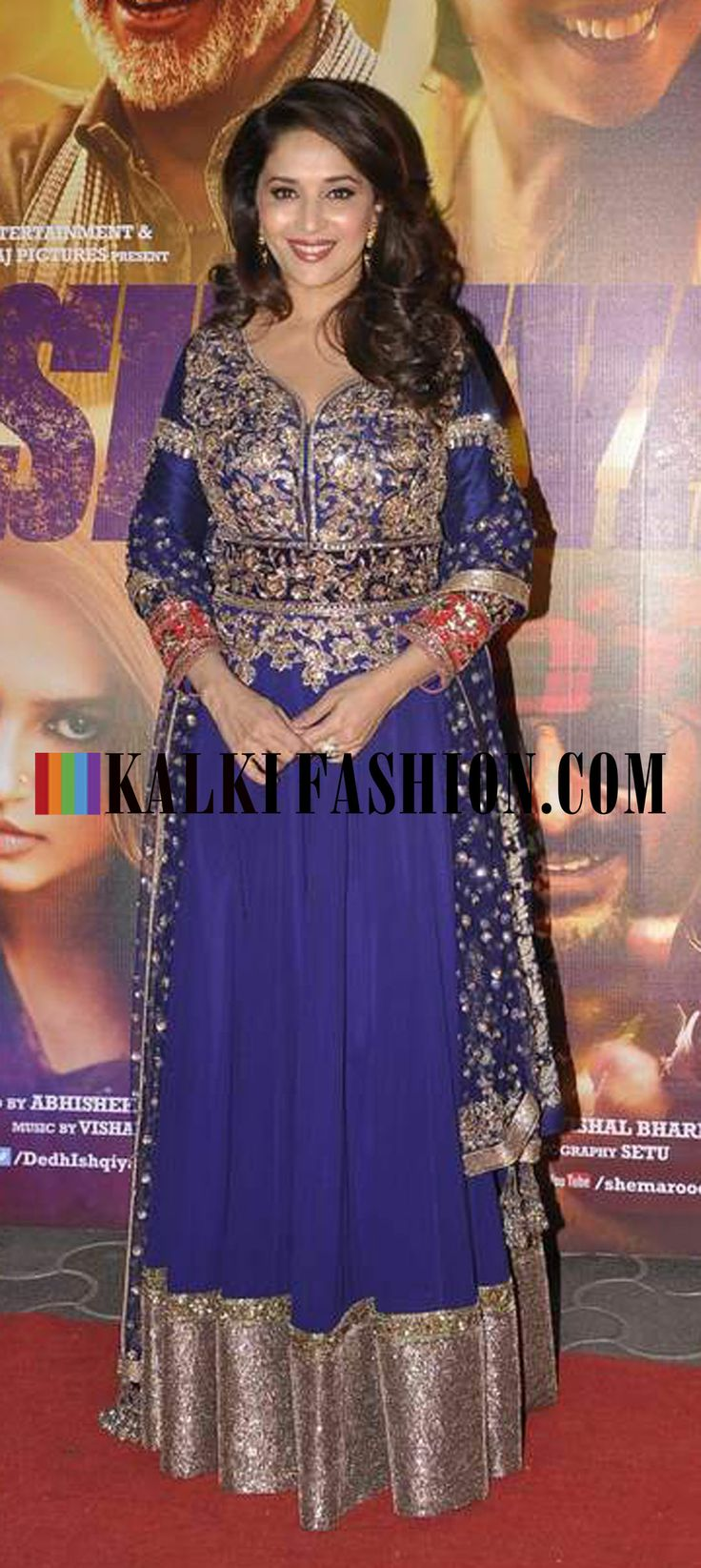 http://www.kalkifashion.com/ Madhuri Dixit Nene in blue floor length anarkali suit by Manish Malhotra at the premier of her movie Dedh Ishqiya