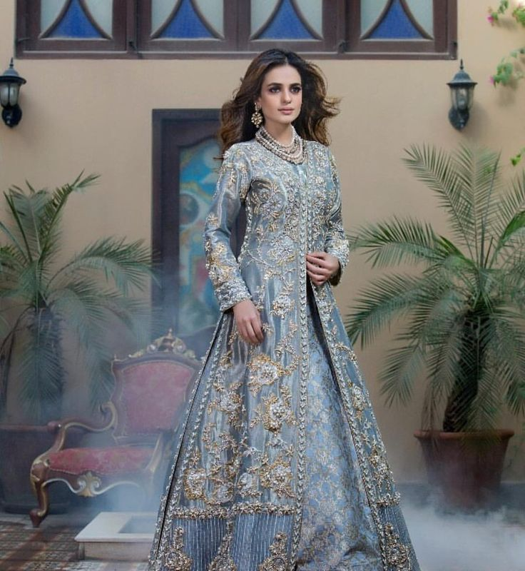 "2,987 Likes, 7 Comments - Pakistan Vogue (@pakistanvogue) on Instagram: ""One of our favourite bridal attire from "" Nouvelle Mariée"" collection by @nickienina .Powder Blue…"""