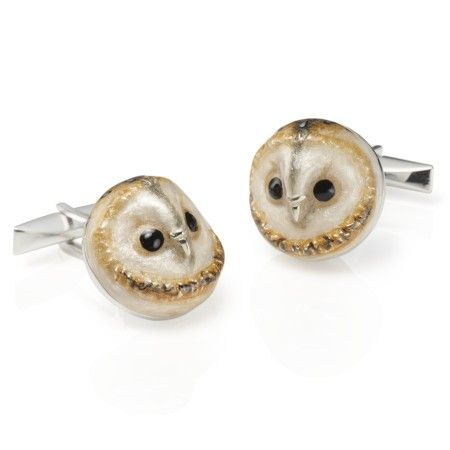 Braybrook & Britten. Owl cufflinks - Sterling Silver and hand painted vitreous enamel with wonderful detail.