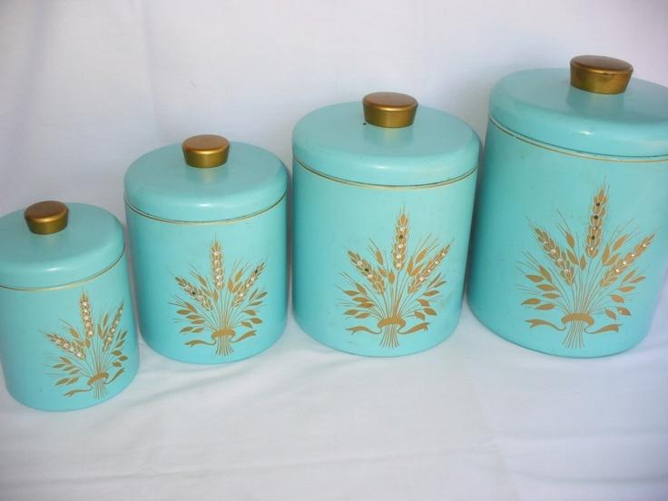 Vintage RANSBURG Metal Kitchen Canisters~Unique Rhinestone Design Retro  Aqua | EBay